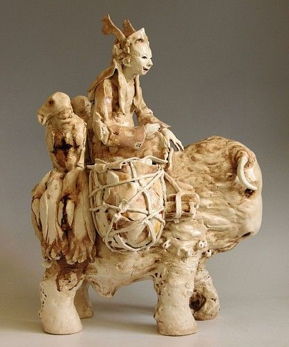 Cary Weigand, Eternity Riding the Beast of Time 2014, porcelain