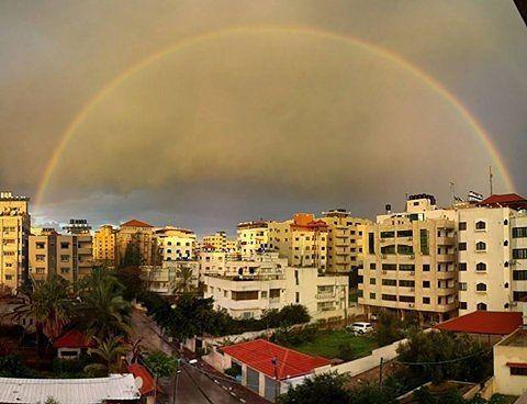 شبكة أجواء فلسطين شبكة قدس الاخبارية صورة لقوس المطر في سماء مدينة غزة اليوم تصوير حسام سالم Instagram Instagram Posts Photo