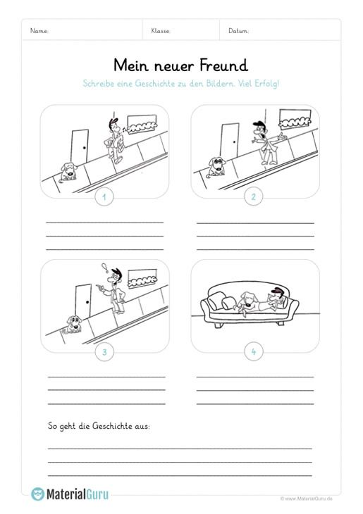 arbeitsblatt bildergeschichte mein neuer freund schule kostenlose arbeitsbl tter. Black Bedroom Furniture Sets. Home Design Ideas