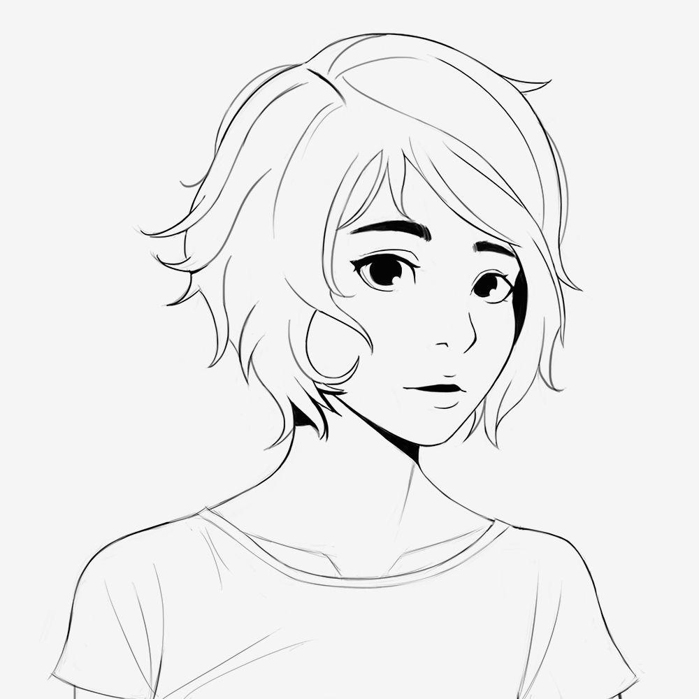 ella sketch short hair