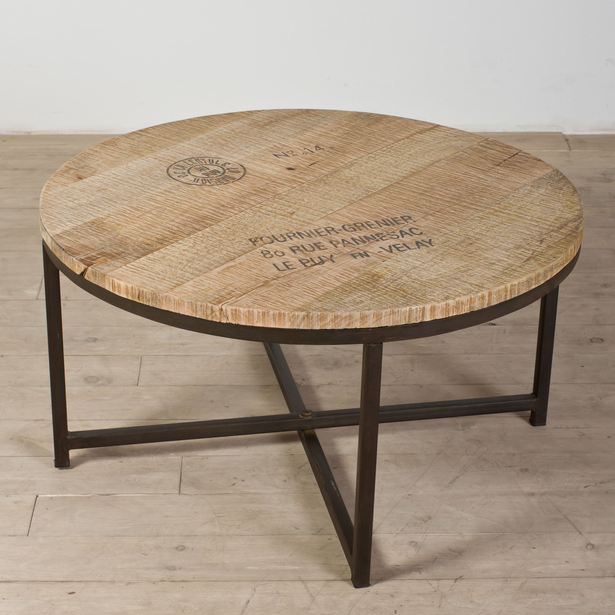 Homemade French Stamped Mango Round Coffee Table (India)