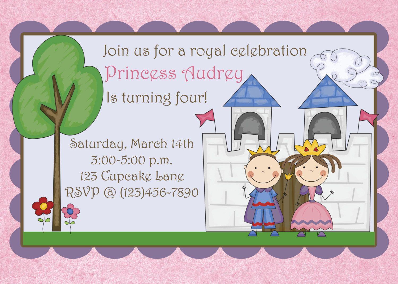 Princess Birthday Party Invitation Girls Prince and Princess Party ...