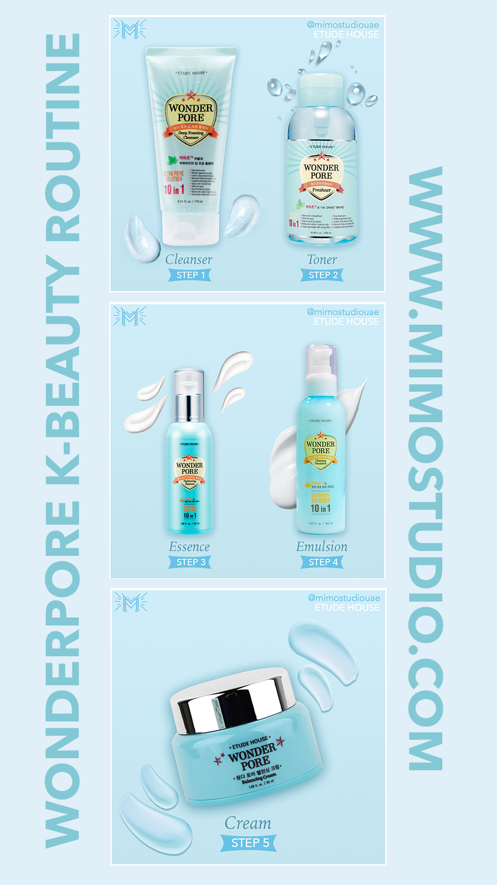 Etude House Wonder Pore Skincare Routine Step 1 Deep Cleansing Foam Step 2 Freshener Step 3 Essence Step Skin Care Routine Steps Wonder Pore Cleanser And Toner