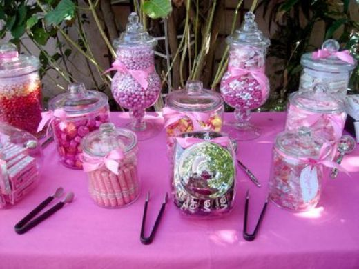 WEDDING CANDY BUFFET TABLE DISPLAY GLASS JARS PINK IDEA