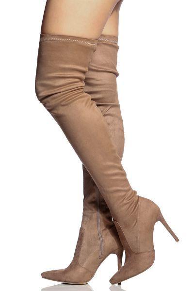 4d3b25e03a7f Khaki Faux Suede Thigh High Pointed Toe Boots
