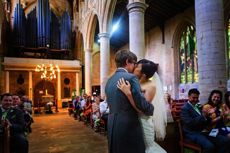 First kiss. Rustic wedding in Lincolnshire. #rustic themed wedding #religious #christian #church ceremony Photo by Shaun Taylor Photography