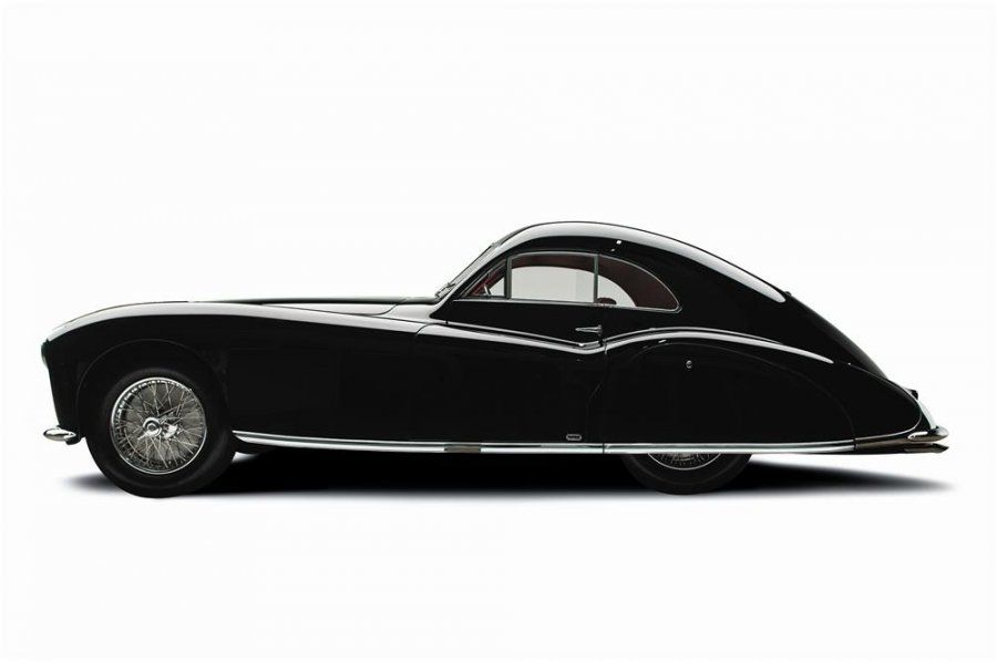 1947 Talbot-Lago T-26 Grand sport, with black paint and a red leather interior.