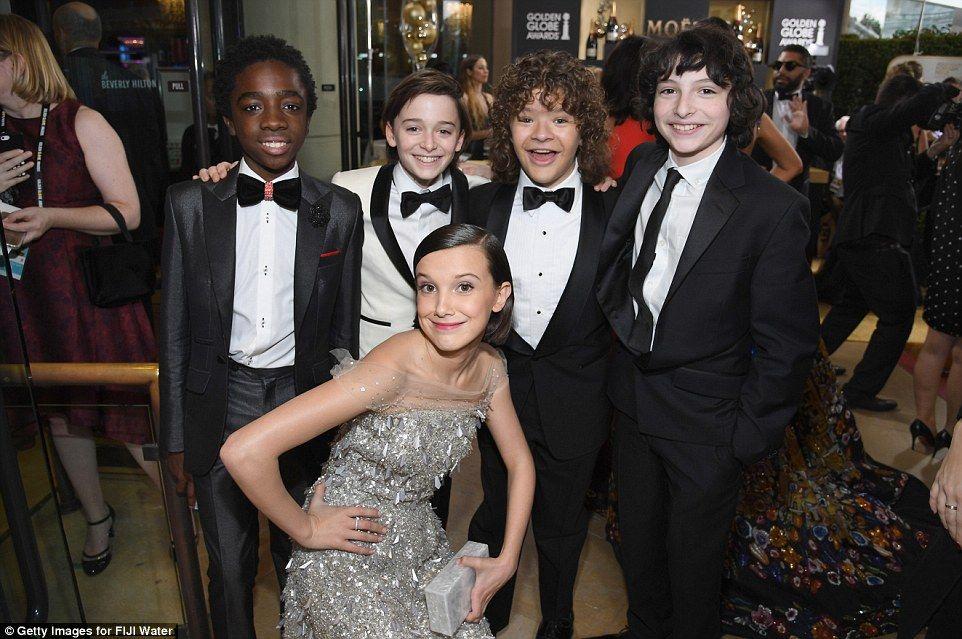 Hollywood's next generation: Stranger Things stars Caleb McLaughlin, Noah Schnapp, Gaten Matarazzo, Finn Wolfhard, and (bottom) Millie Bobby Brown enjoy their big night out