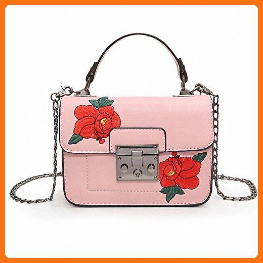 06ae1605be69 flower embroidered Bag fashion Shoulder handbags small chain sling bag women  designer messenger bags Pink - Shoulder bags (*Amazon Partner-Link)