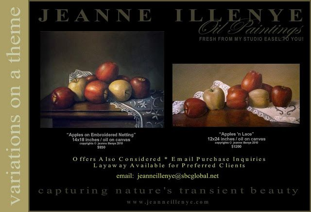 JEANNE ILLENYE - Still Lifes: two variations on a theme red golden delicious apples on lace still life oil painting available for purchase realism