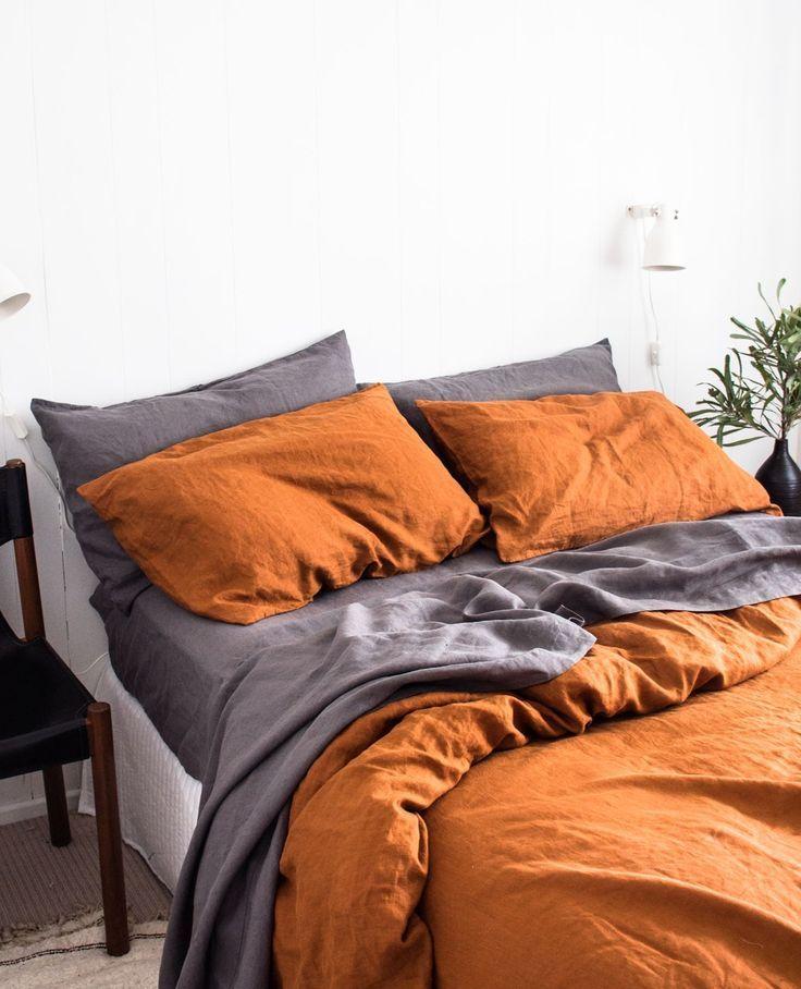 A C Flax Linen Duvet Cover Terracotta In 2020 Luxury Bed Sheets Bed Linen Design Luxury Beddin Bedroom Orange Luxury Bed Sheets Bedroom Inspirations