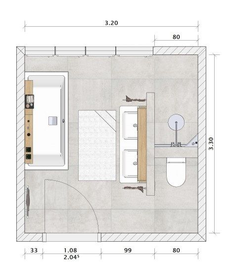 Zwei Badezimmer Grundrisse inkl. vielgehasster T-Wand