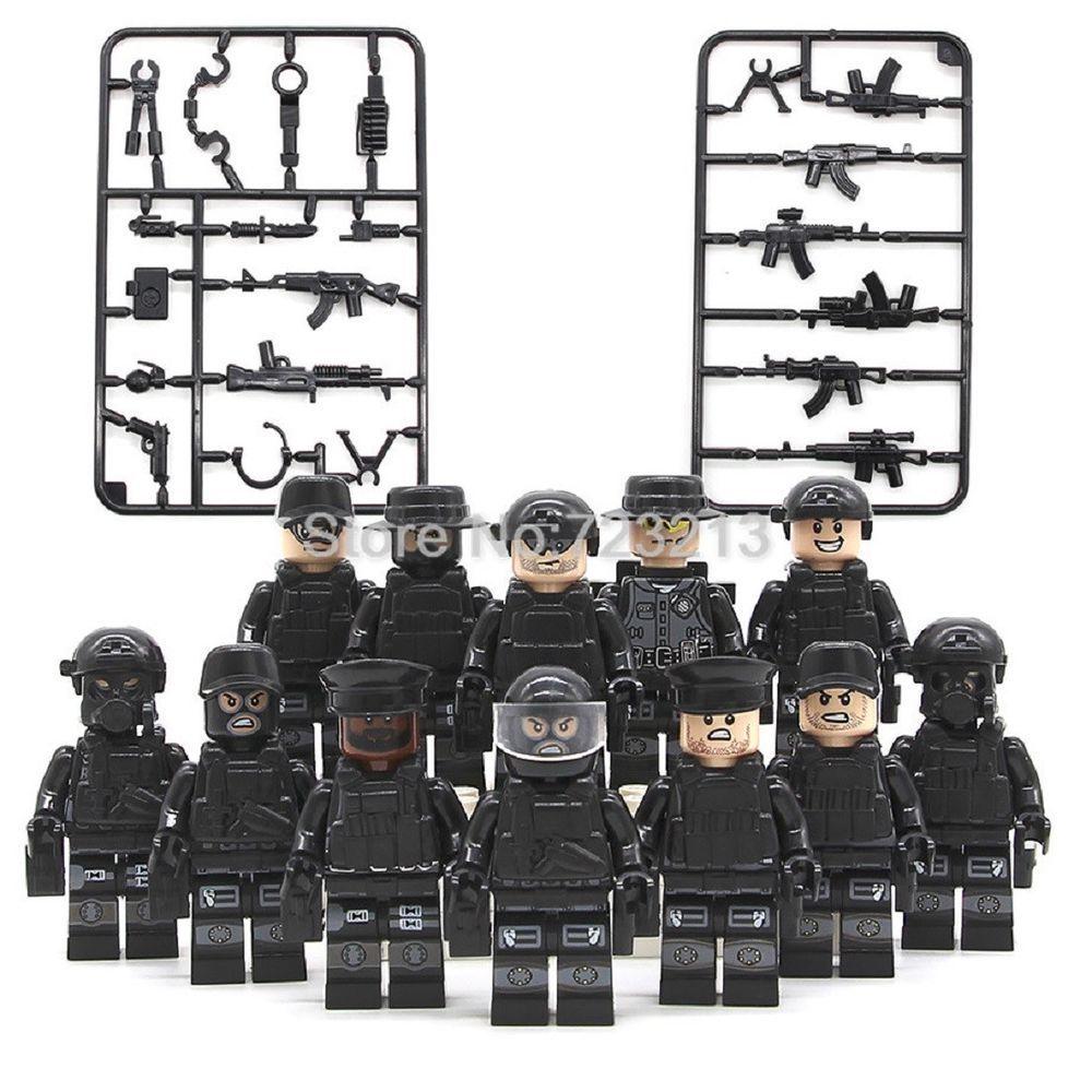 Custom Set Militaire figurine briques SWAT TEAM Whit armes police armée Toys