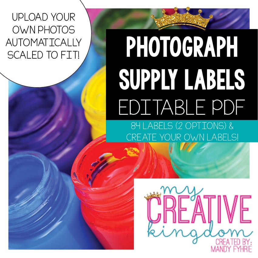 Photograph Supply Labels - Editable PDF {99¢ SALE ENDING SOON!)