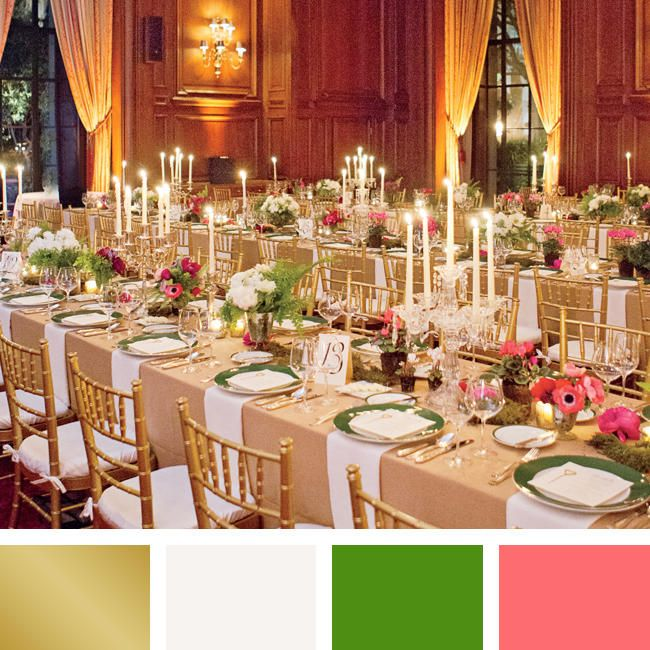 Color pairings we love you will too wedding weddings and event gold white kelly green and carnation pink will give an indoor ballroom wedding a junglespirit Images