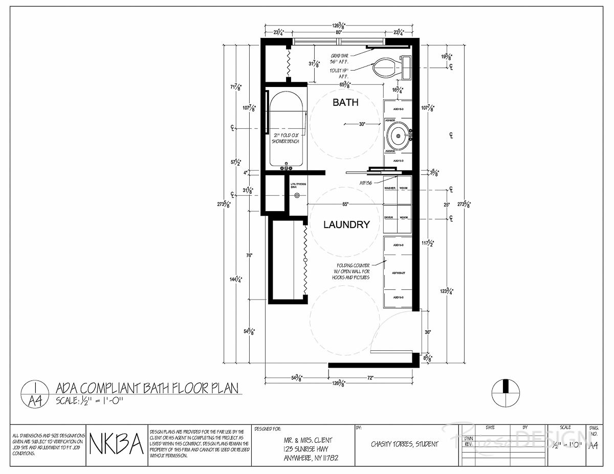 Bath Laundry Floor Plan Ada Compliant Modified Floor Plan Should Client Become Handicapped