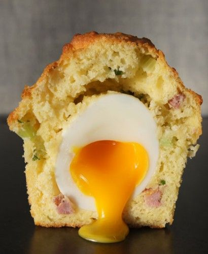 Oozy egg within a bacon cheese muffin