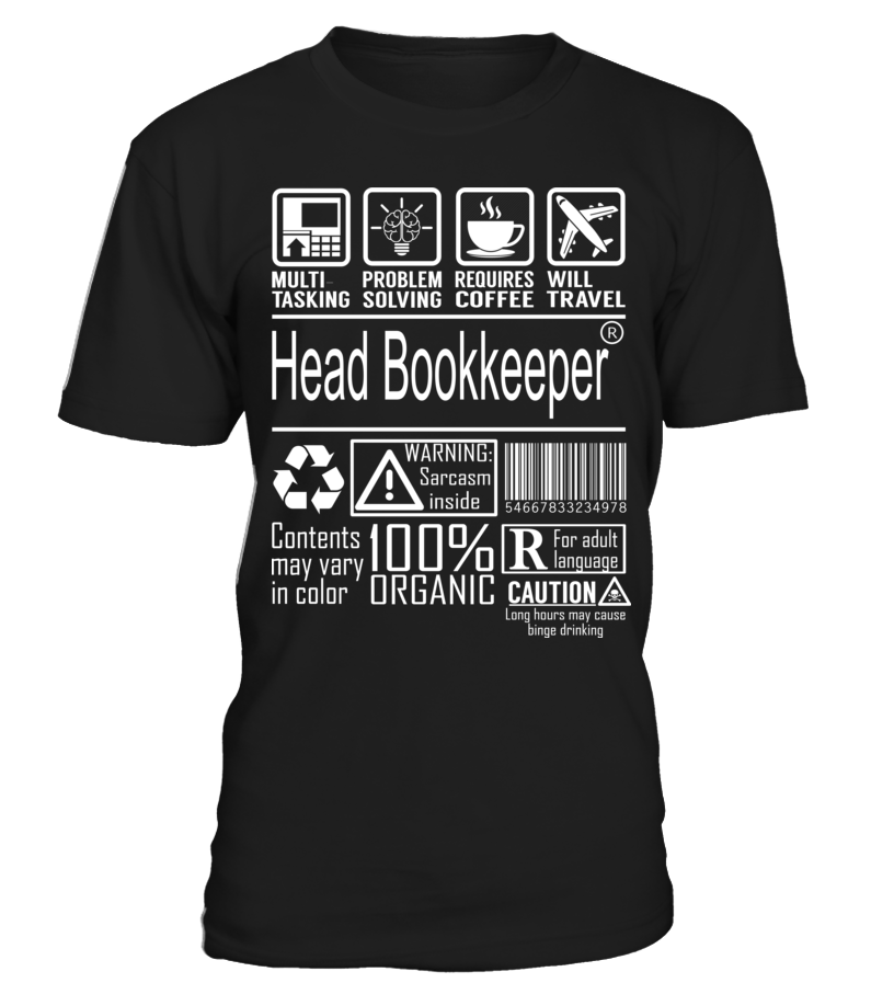 Head Bookkeeper - Multitasking  #birthday #november #shirt #gift #ideas #photo #image #gift #bookkeeper #librarian