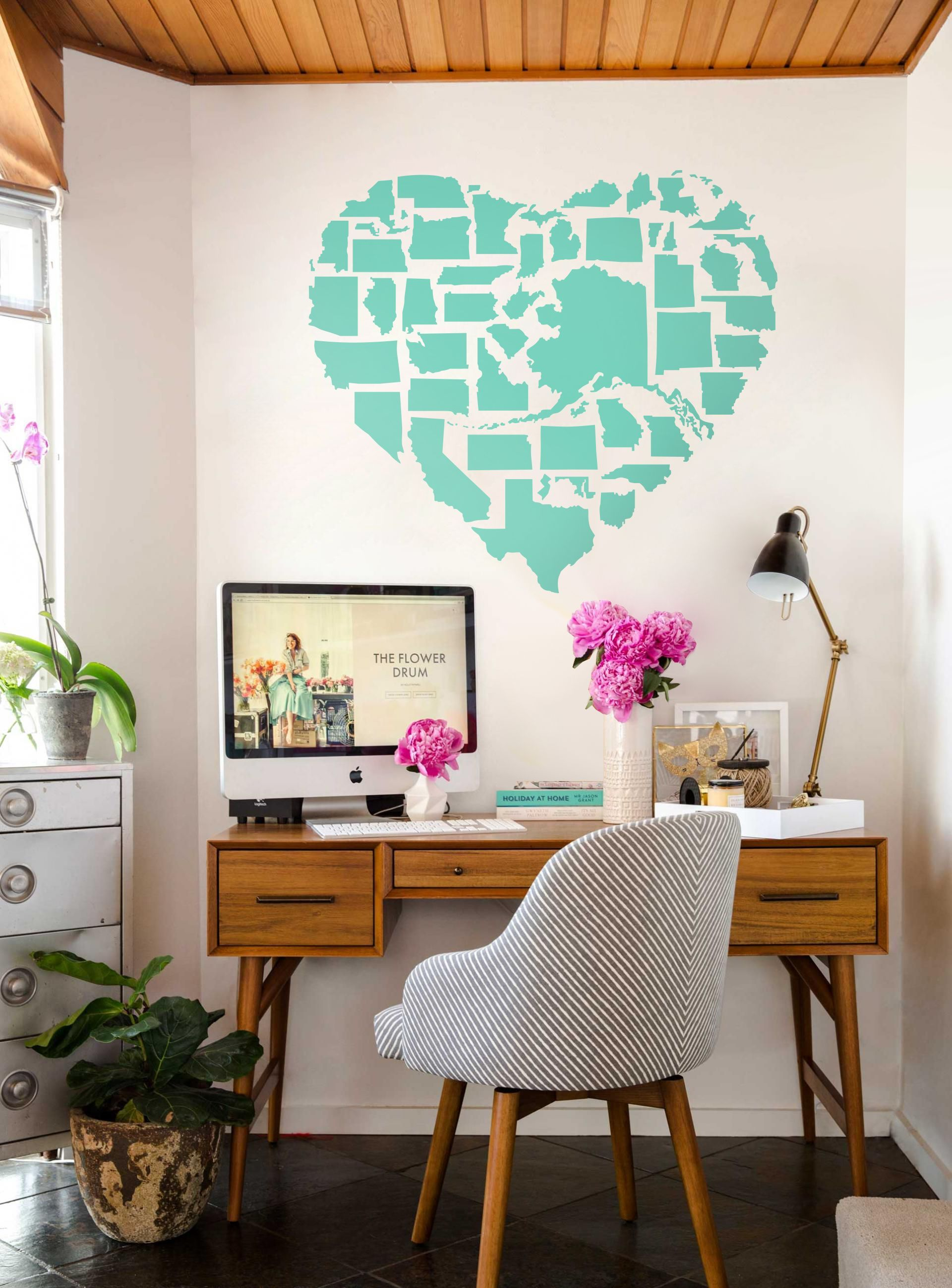 25 Pink Wall Decal Interior Design | Retro bedrooms, Wall ...