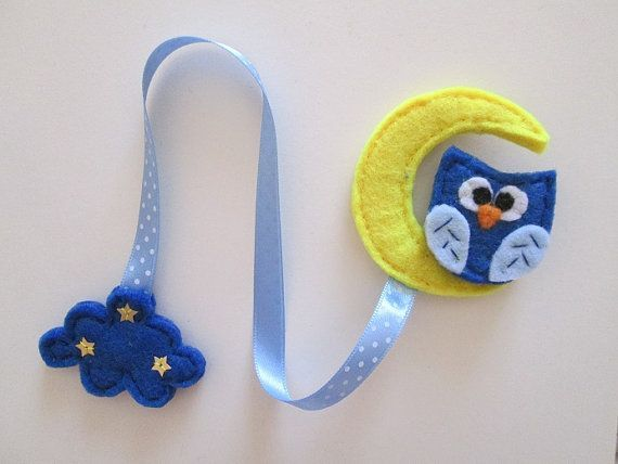 Owl Bookmark Felt Moon Gift For Readers Birthday Cloud Book Marker Handmade