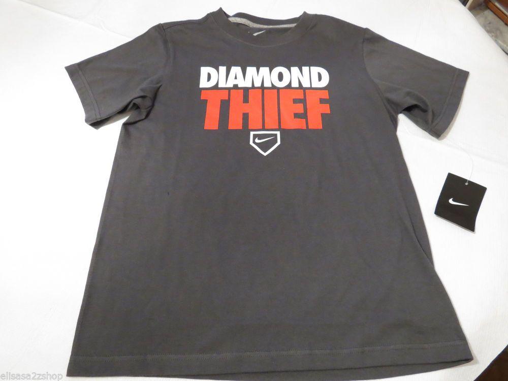 Boy S Youth Nike Charcoal T Shirt Tee Smack Talk XL Diamond Thief 605228 060