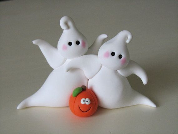 Polymer Clay Halloween Ghosts and Pumpkin por ClayPeeps en Etsy