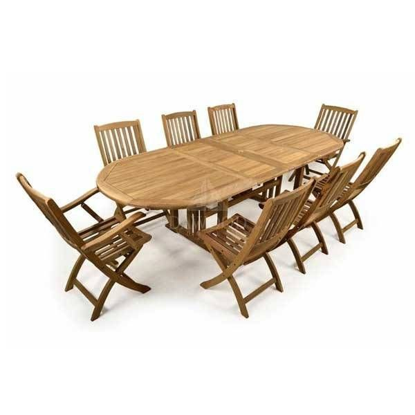 Teak Oval Fixed 8 Folding Chair Garden Dining Set is part of garden Table Teak - Teak Oval Fixed 8 Folding Chair Garden Dining Set DCDD011 dawood indonesia