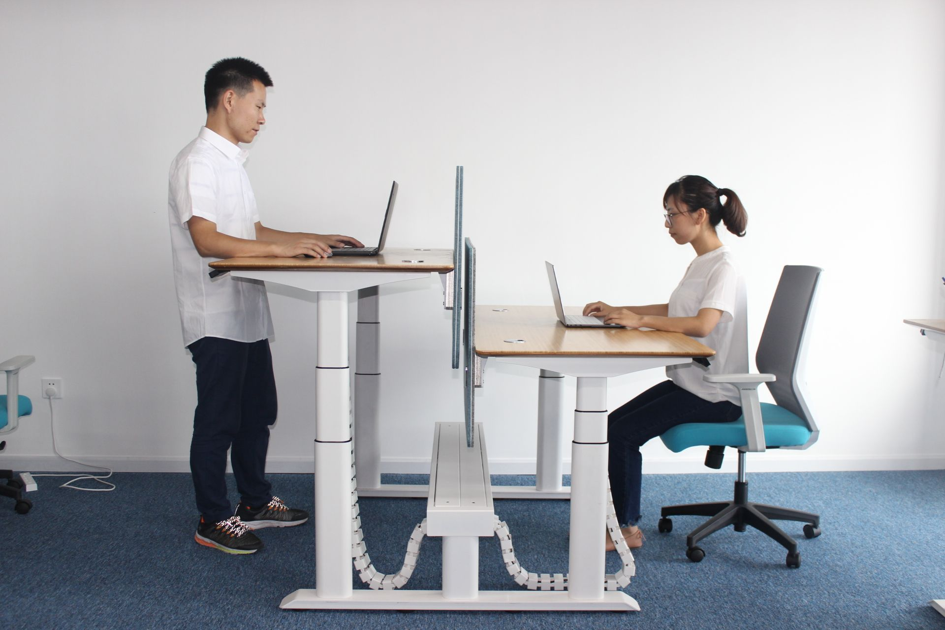 H Shape For Double People Workstation Office Furniture Layout Desk Layout Office Furniture Standing Desk