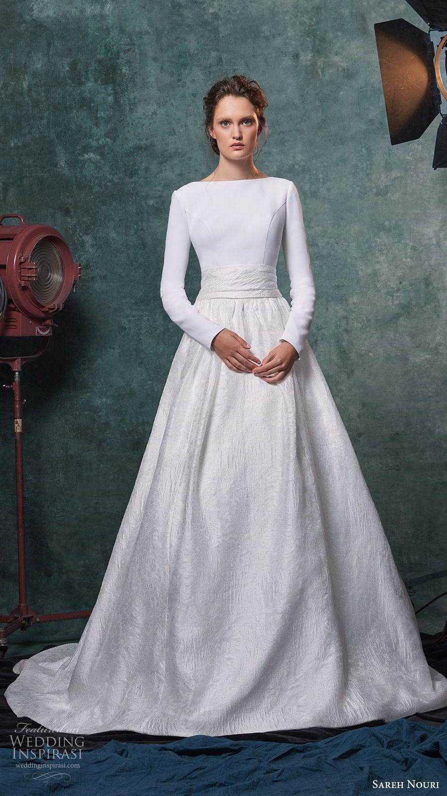 44ab0dea08ef9 sareh nouri fall 2019 bridal long sleeves bateau neckline clean bodice a  line ball gown skirt cathedral train modern elegant (10) mv -- Sareh Nouri  Fall ...