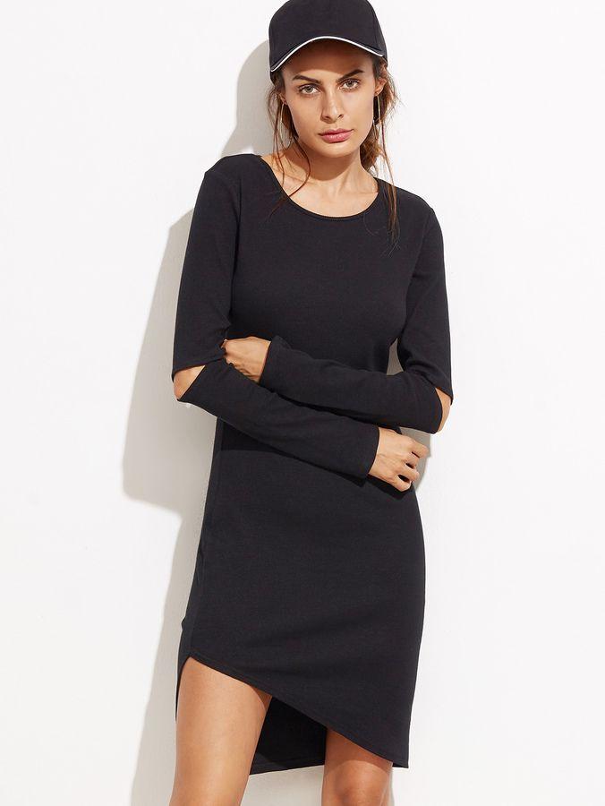0cef73c511 Shein Cutout Elbow Asymmetric Tee Dress | Products | Tee dress ...