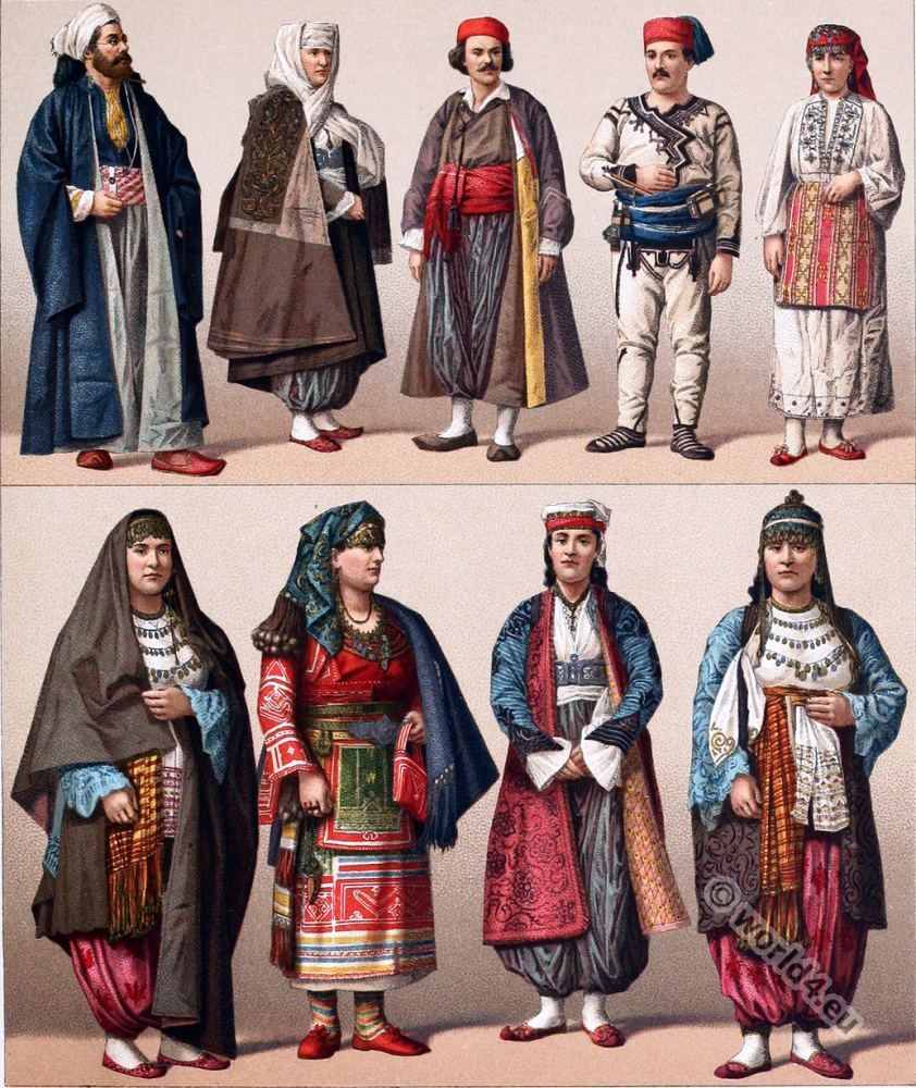 Historical Turkish Male And Female Costumes Ottoman