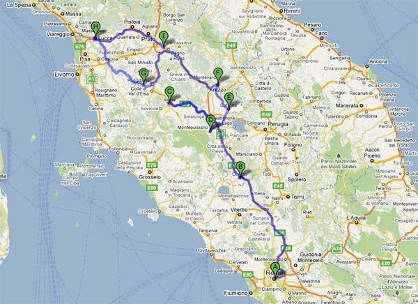 Ruta Roma Toscana Jpg 600 436 Pixels Viajes Ruta De Viaje