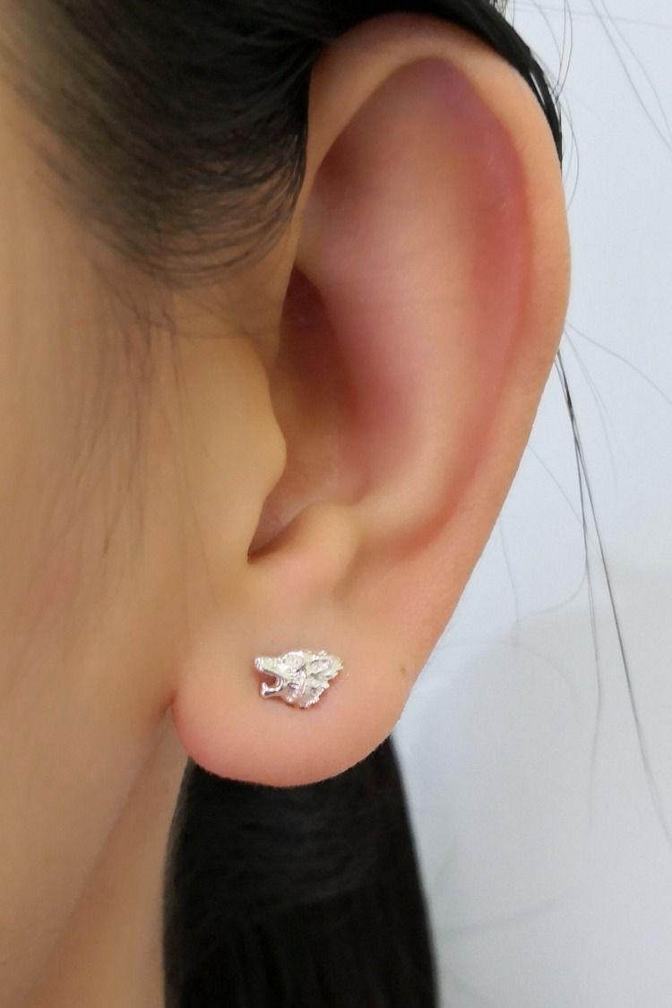 Girls Wolf delicate Ear Studs 925 Sterling Silver
