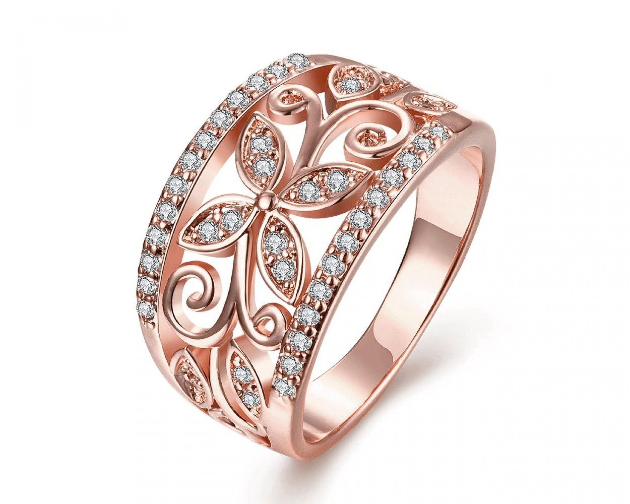 Rose Gold Plated Floral Design Imprint Ring Beautiful