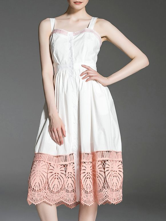 ¡Cómpralo ya!. White Strap Backless Crochet Hollow Out Dress. White Spaghetti Strap Sleeveless Polyester A Line Knee Length Fabric has no stretch Summer Casual Day Dresses. , vestidoinformal, casual, informales, informal, day, kleidcasual, vestidoinformal, robeinformelle, vestitoinformale, día. Vestido informal  de mujer color blanco de SheIn.