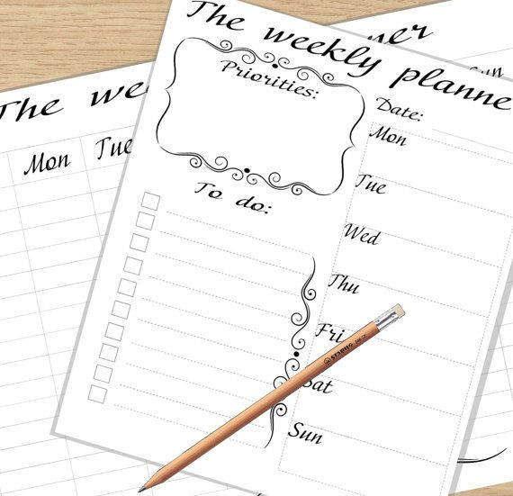 2 Pages A4 Weekly Planner Printable Desk Planner Daily Agenda