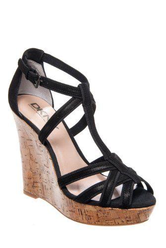 b234f1b11e6e DKNY Linda High Heel Platform Wedge Sandal - Black