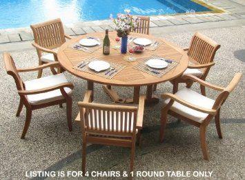 Amazon Com New 5 Pc Luxurious Grade A Teak Dining Set 60