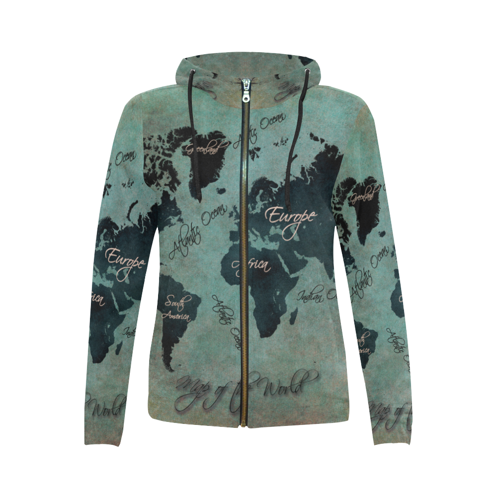 World map all over print full zip hoodie for women model h14 gumiabroncs Gallery