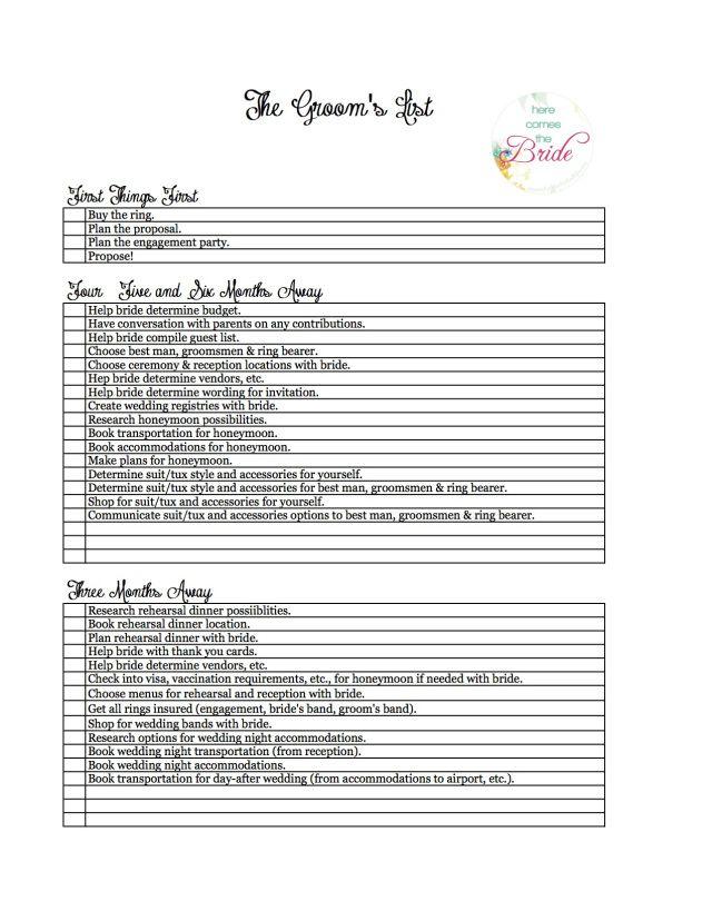 GroomS Checklist  Wedding Planner Checklist  Www