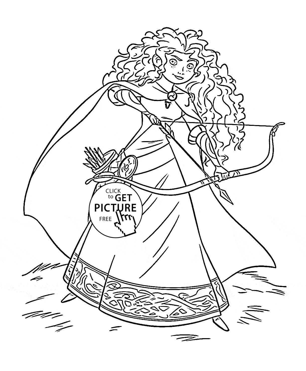 Disney Princess Coloring Page Brave Princess Merida Coloring Page
