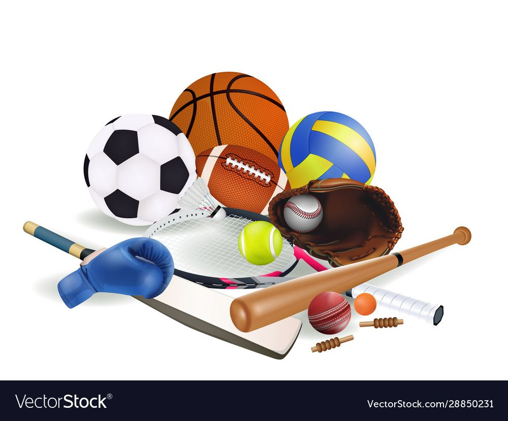 Sports Equipments Vector Image On Vectorstock In 2020 Soccer Tennis Football And Basketball Sports Equipment
