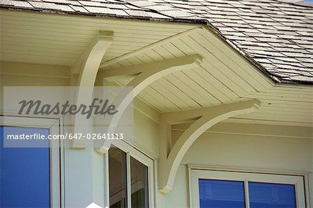 Exterior Corbels For Bay Window Overhang Detail Roof And Support Brackets Stock Photo Premium
