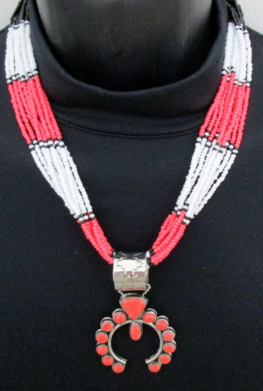 Southwest Silver and Seed Bead Necklace with Native American Signed Naja *349 | eBay
