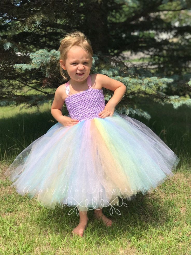 Girls tutu dress pastel rainbow unicorn tutu lavender