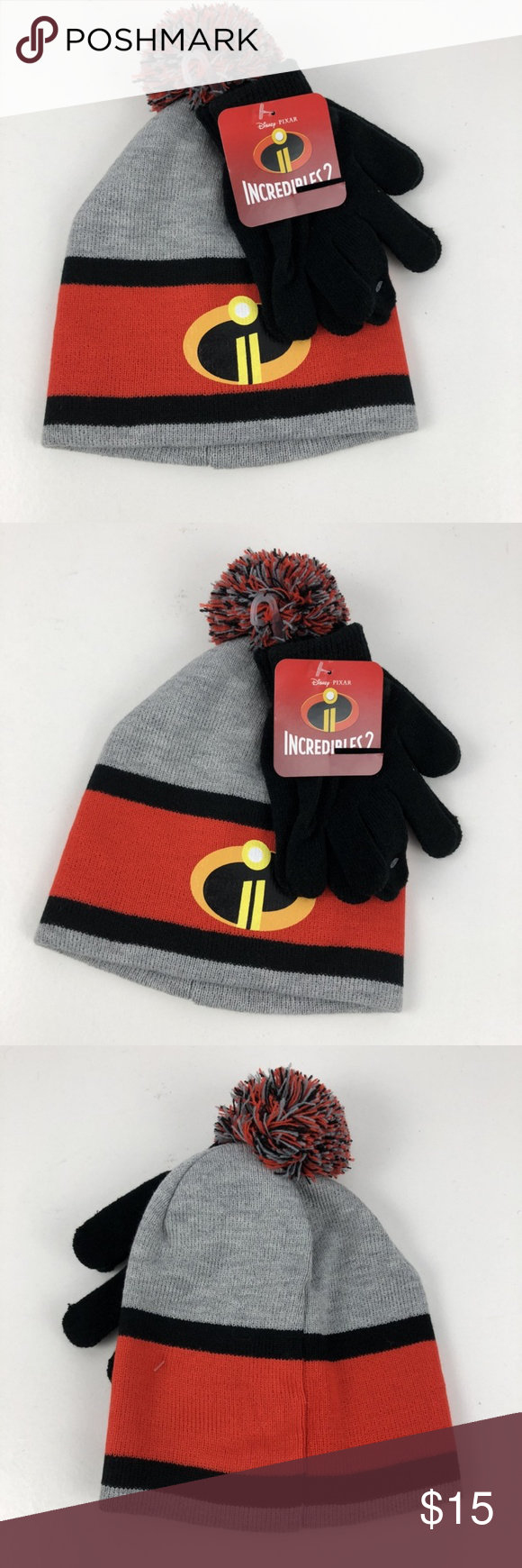 New Disney Incredibles 2 Hat Gloves Set Kids Boys New Disney Incredibles 2  Hat Gloves Set Kids Boys Girls Gray Black Beanie Knit Disney Accessories  Hats 4cba5bdbcf02