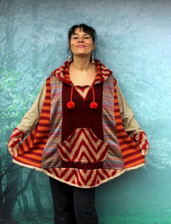 L-XXL Fall colors patchwork sweater poncho with hood recycled hippie ...