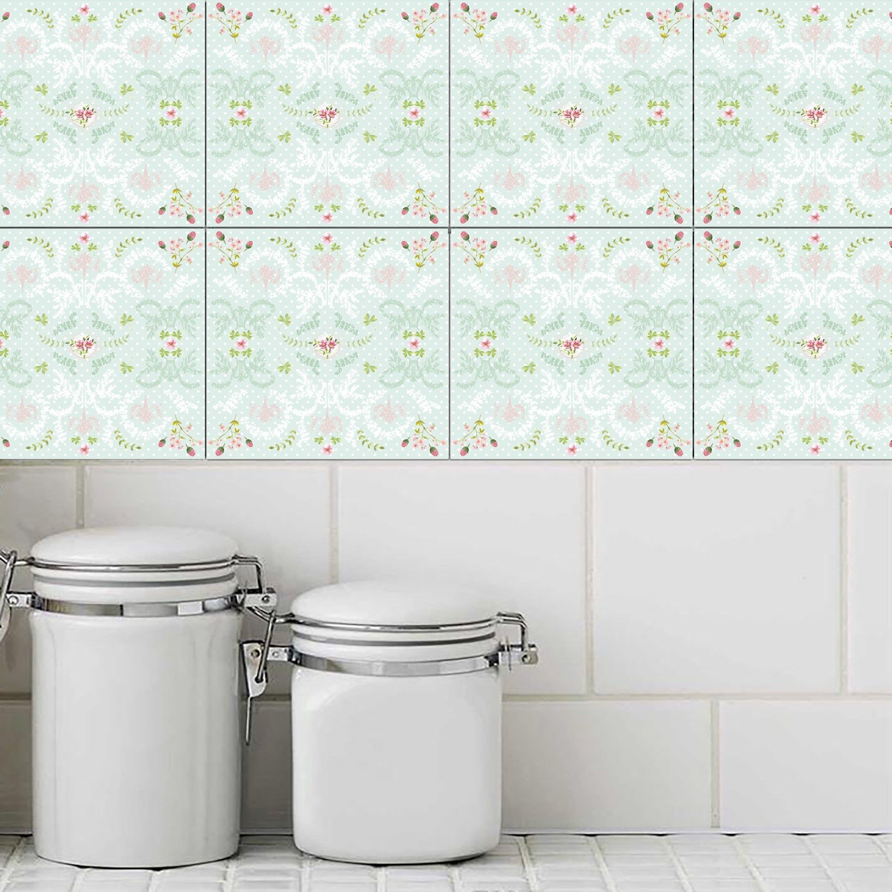 Mint Green Wall Tile Stickers Waterproof Tile Decals Set Of 14