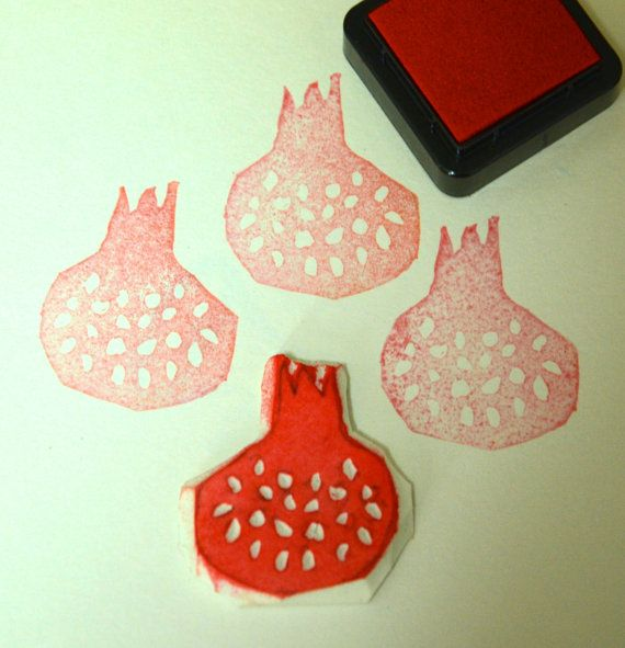 An Unmounted Handcarved Rubber Stamp  As Shown in Pictures    Theme: Pomegranate    Size: 3cm x 4cm    Materials: Rubber    You will receive a