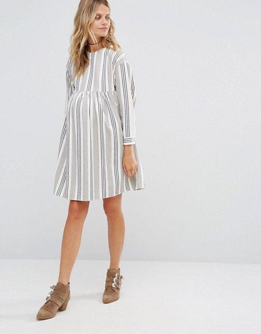 34991f969c6ef Maternity Smock mini dress in Natural Stripe | - Maternity Style ...